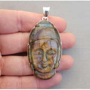 Anhänger aus Silber mit Buddha geschnitzt aus Labradorit