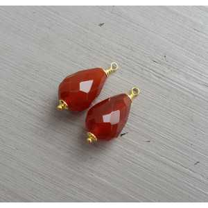 Gold plated loose pendant set with Carnelian