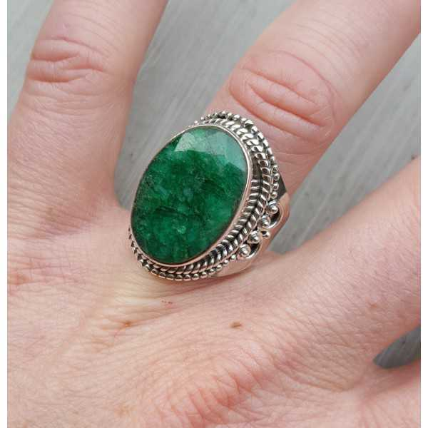 Silver ring set with Emerald 17.5 mm