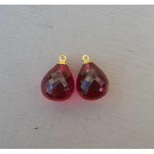 Goud vergulde losse hanger set met roze Toermalijn quartz briolet