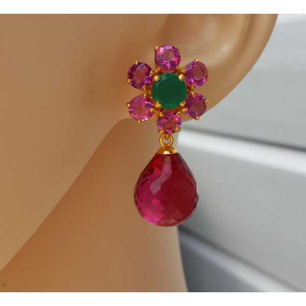 Gold plated loose pendant set with pink Tourmaline quartz briolet
