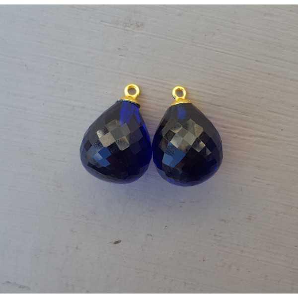 Goud vergulde losse hanger set met Saffier blauwe quartz briolet