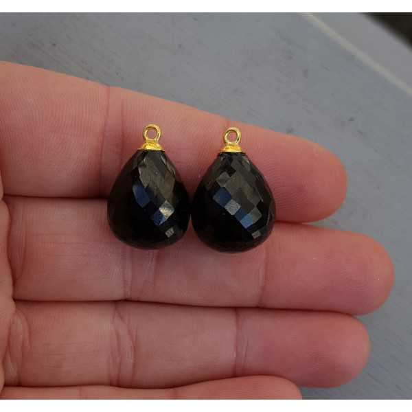 Gold plated loose pendant set with black Onyx briolet
