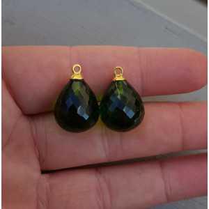 Gold plated loose pendant set with Peridot quartz briolet