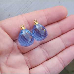 Goud vergulde losse hanger set met blauwe Topaas quartz briolet