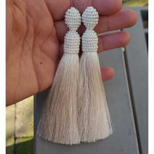 Lange Elfenbein weiße Quaste Ohrringe