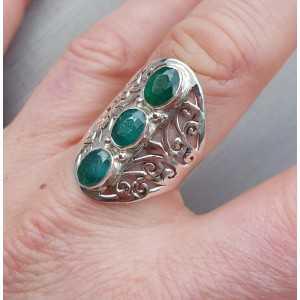 Zilveren ring gezet met Emerald ring maat 19 mm