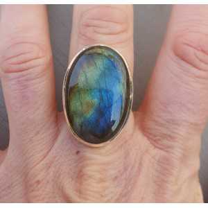 Silber ring set mit ovalen cabochon Labradorit-Größe 17.7