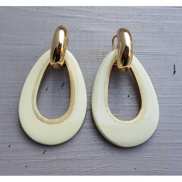Creoles drop pendant cream colored buffalo horn gold inside