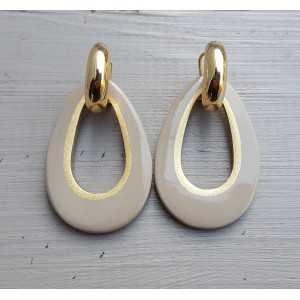Creolen druppel hanger kaki kleurige Buffelhoorn gouden binnenkant