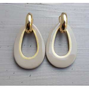 Creoles drop pendant khaki colored buffalo horn gold inside