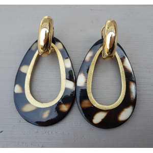 Creoles drop pendant cougar print buffalo horn gold inside