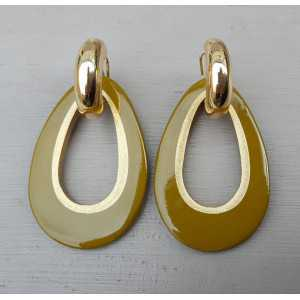 Creoles drop pendant khaki green buffalo horn gold inside