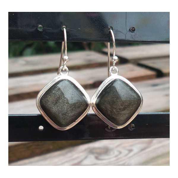 Silber Ohrringe-set mit quadratischen Goldenen Obsidian