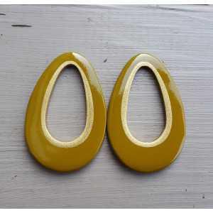 Pendant set with drop pendant khaki green buffalo horn gold inside