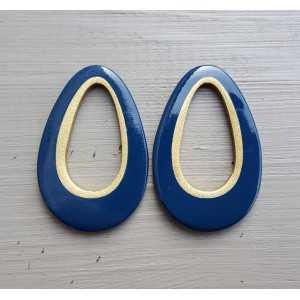 Hanger set met druppel hanger blauw Buffelhoorn gouden binnenkant