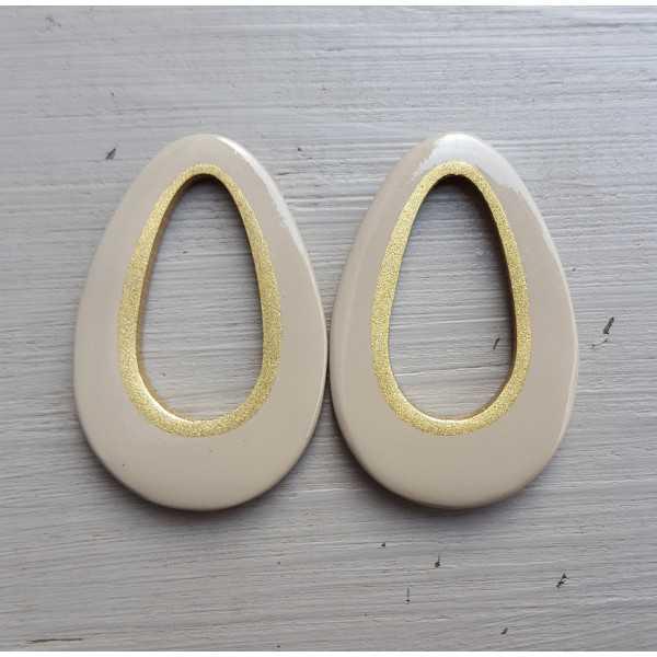 Pendant set with drop pendant beige buffalo horn gold inside