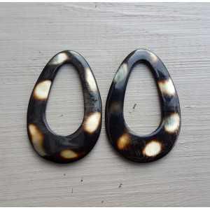 Pendant set with drop pendant cougar print buffalo horn