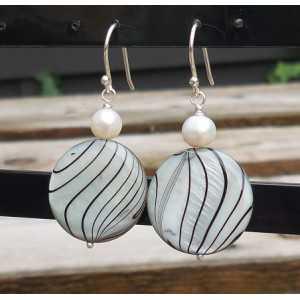 Silber-Ohrringe mit Muschel und Perle