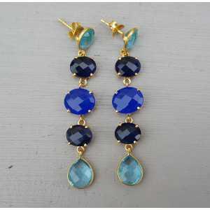 Vergoldete Ohrringe mit Chalcedon, Saphir-blau und blau-Topas-Quarz
