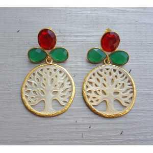 Vergoldete Ohrringe mit grünem Onyx, Granat und Quarz, die Mutter-of-Pearl