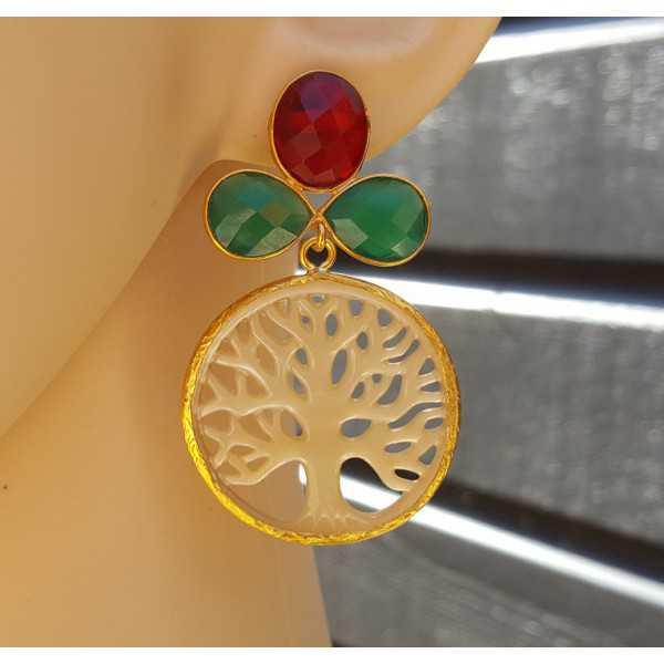 Vergoldete Ohrringe mit grünem Onyx, Granat quatyz und Mutter-of-Pearl