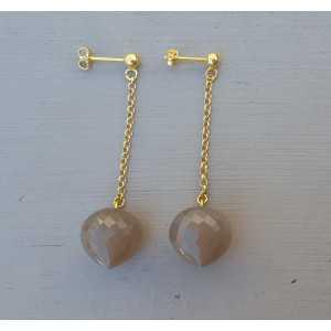 Lange oorbellen met grijze Maansteen briolet