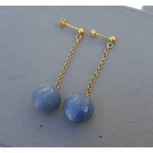 Lange Ohrringe mit blauen Aventurin briolet