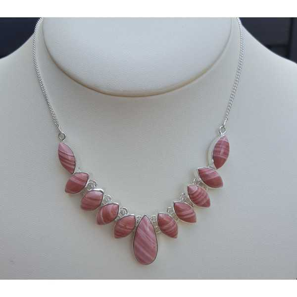 Silber Halskette mit rosa Opal