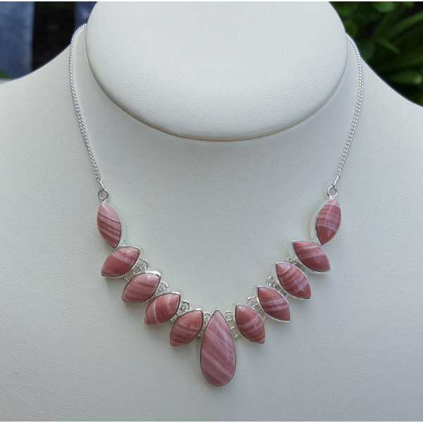 Silver necklace set with pink Opal