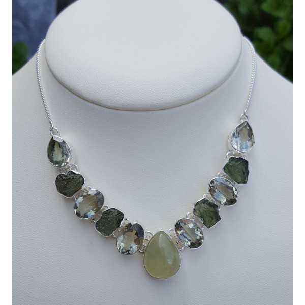Silber Halskette mit green Amethyst, seine Farbe und Moldaviet
