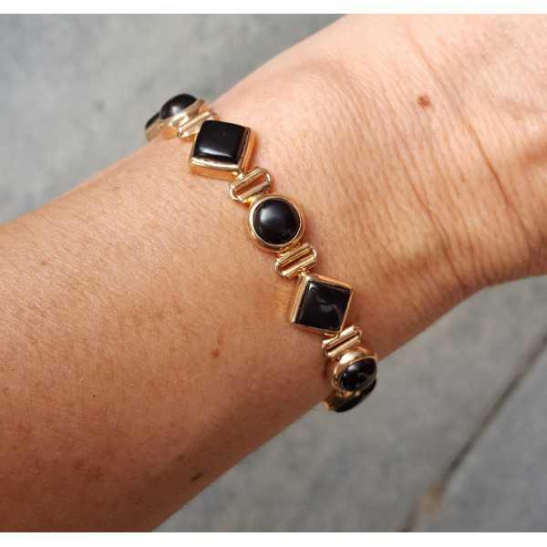 Vergulde armband gezet met zwarte Onyxen