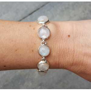 Zilveren armband gezet met ronde regenboog Maanstenen