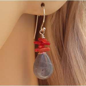 Zilveren oorbellen met Labradoriet en Koraal