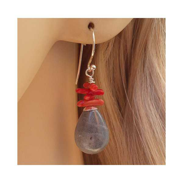 Silver earrings with Labradorite and Coral