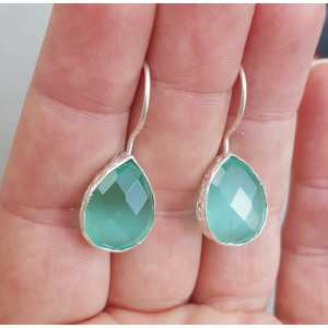 Zilveren oorbellen met druppelvormige mint groene Kattenoog