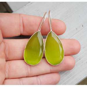 Silber Ohrringe-set mit kleinen ovalen grünen Katzen Augen