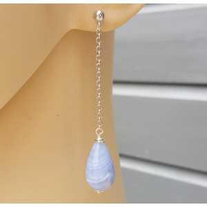 Lange oorbellen met blauw Lace Agaat briolet