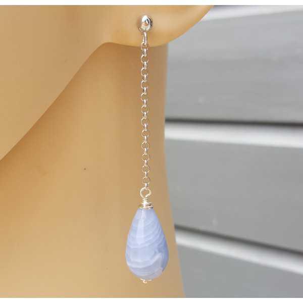Lange Ohrringe mit blauen Spitze-Achat-briolet