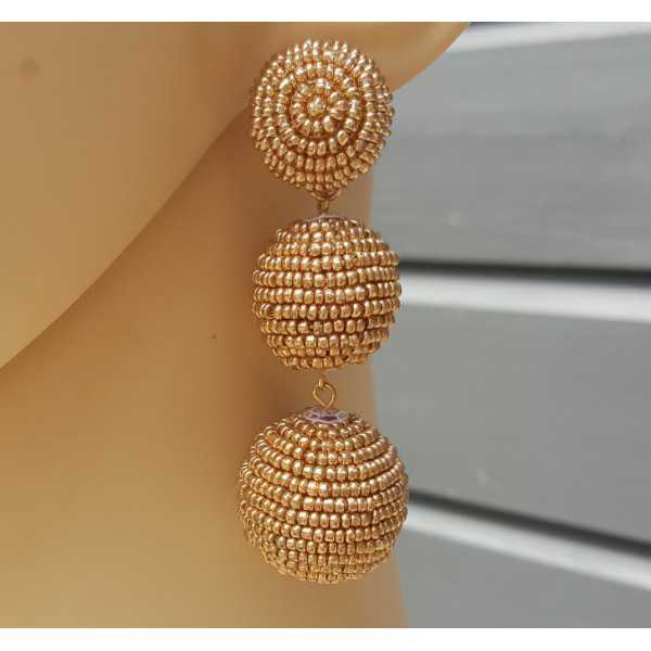 Gold plated earrings balls with golden beads
