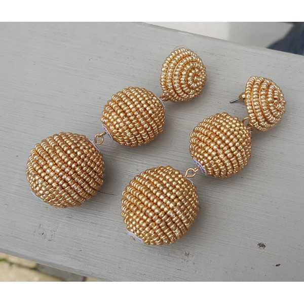 Vergoldete Ohrringe Kugeln mit Goldenen Perlen