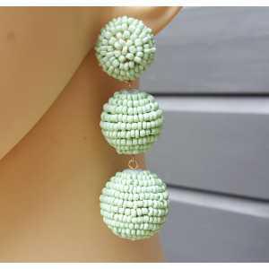 Vergoldete Ohrringe-Kugeln mit Minze grün, Perlen