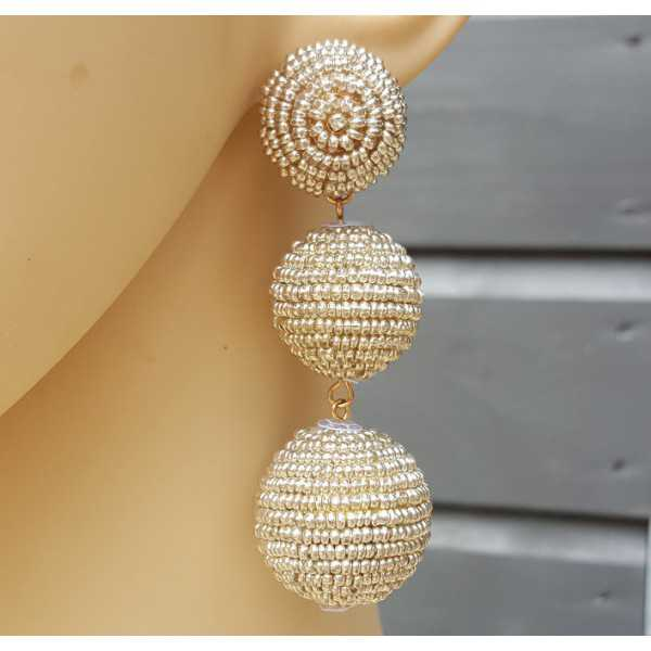 Gold plated earrings balls with silver beads