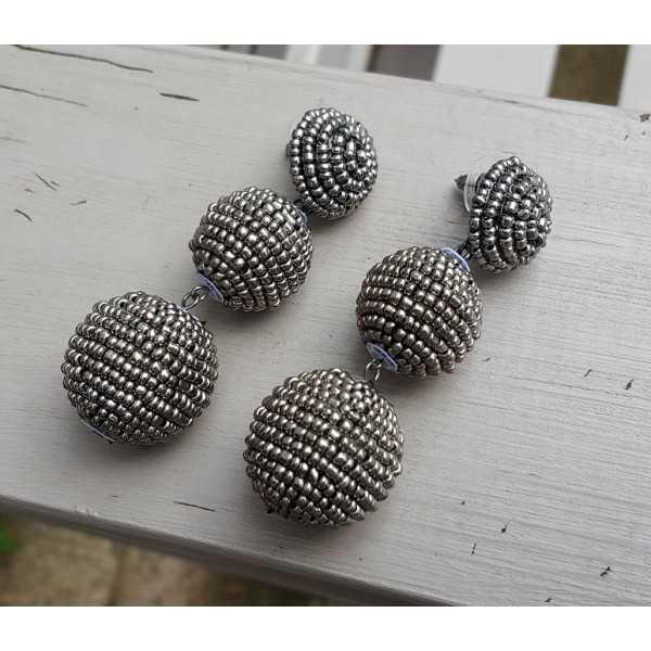 Ohrringe Kugeln, Hämatit-Perlen