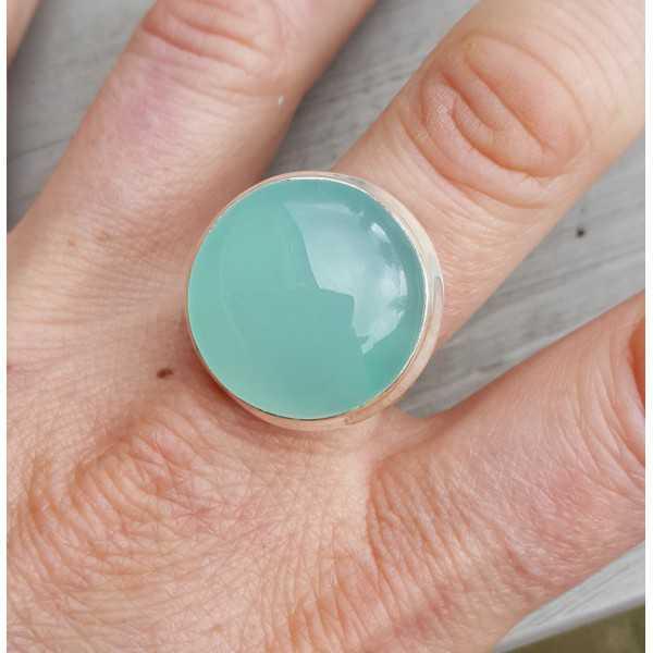 Silber-ring mit einer Runde aqua Chalcedon 18 oder 18,5 mm