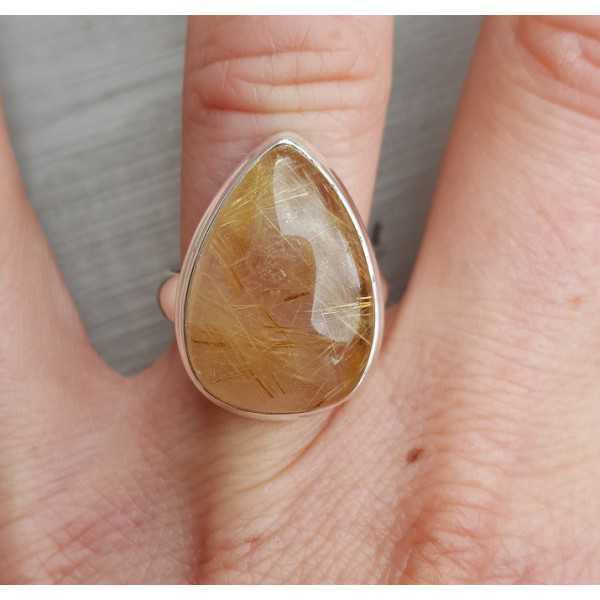 Silber ring set mit ovalen Goldenen Rutielkwarts 17