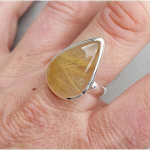 Zilveren ring met druppelvormige gouden Rutielkwarts 18.5
