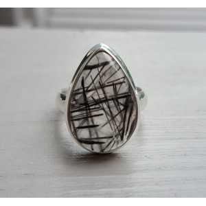 Silber ring set mit Toermalijnkwarts Größe 16,5 mm
