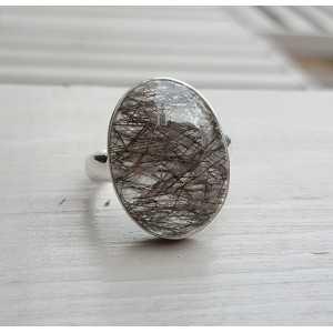 Silber ring set mit ovalen Toermalijnkwarts 20 mm