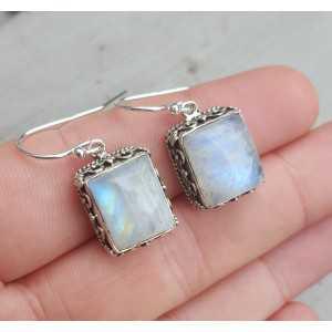 Silber Ohrringe mit rechteckigem Mondstein in jeder Umgebung